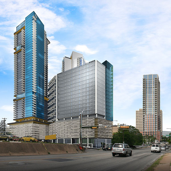 Waller Creek project rendered images of projected finalized buildings